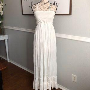 Smocked White Gauze Maxi Dress